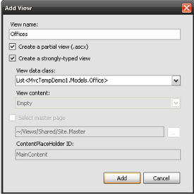 Add List<MvcTempDemo1.Models.Office> template dialog