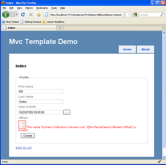 Offices using DefaultBinder