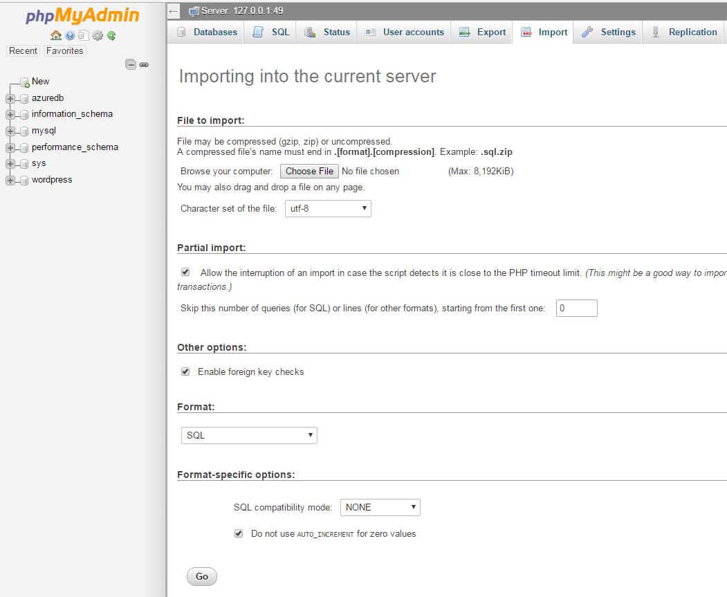 phpmyadmin-import